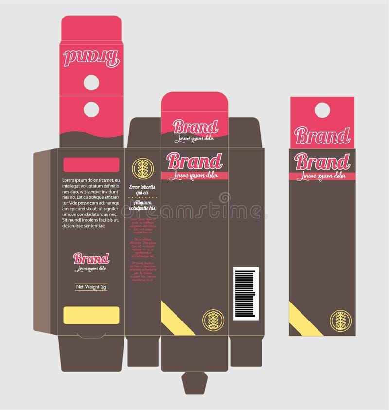 Étiquette accrochante de calibre de boîte de papier de carton d'emballage de produit illustration libre de droits