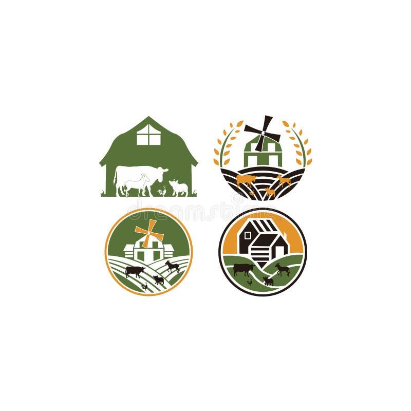 Étiquette agricole Agriculture, agro-industrie, animal de ferme illustration de vecteur
