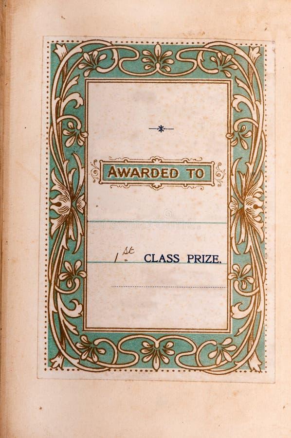 Étiquette antique d'attachement à premier prix de livre images libres de droits