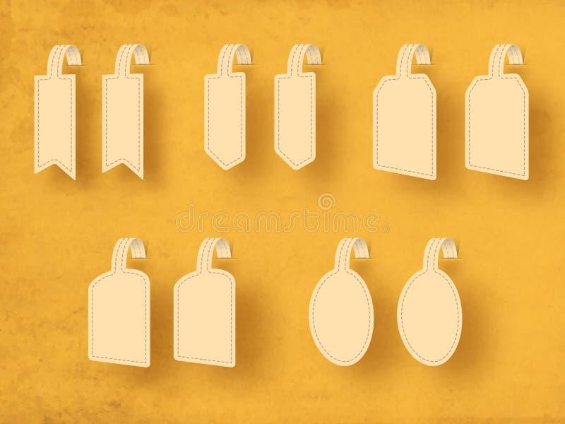 Étiquette, autocollants et label vides élégants pour votre massage illustration stock