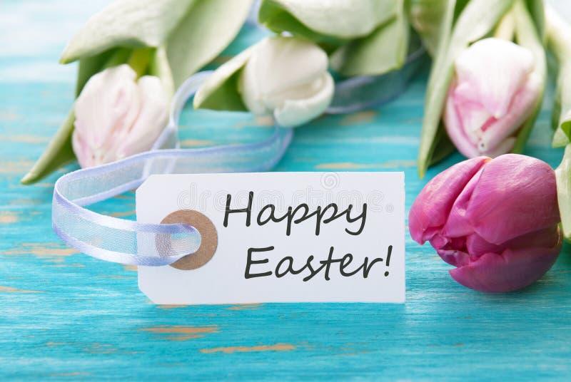 Étiquette avec Joyeuses Pâques photographie stock libre de droits