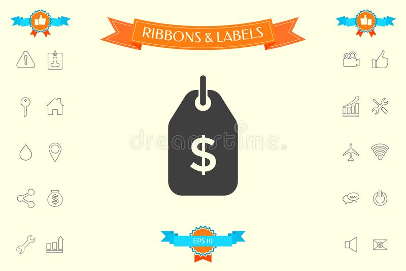 Étiquette avec le symbole du dollar Icône de prix à payer pour le téléchargement photographie stock