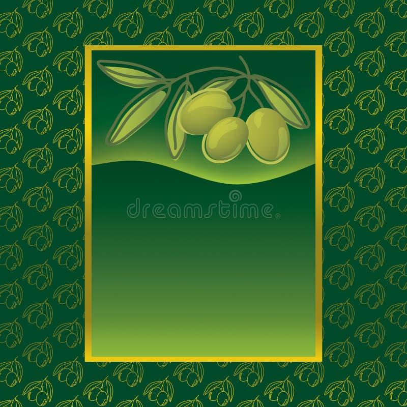Étiquette avec les olives vertes illustration stock