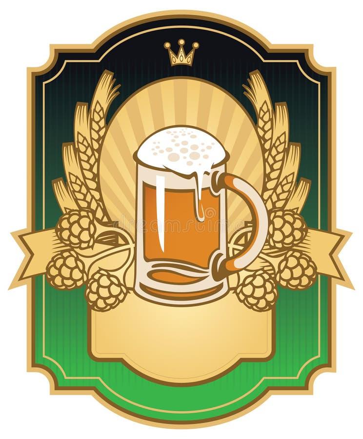 Étiquette avec une glace de bière illustration libre de droits