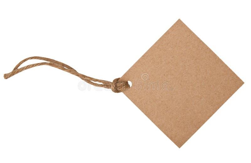 Étiquette blanc attachée avec la chaîne de caractères brune photos stock