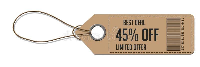 Étiquette blanc attachée avec la chaîne de caractères Prix à payer, étiquette de cadeau, étiquette de vente image stock