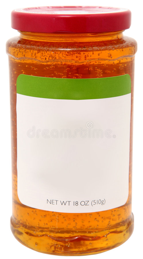 étiquette blanc de gelée de pomme photos stock