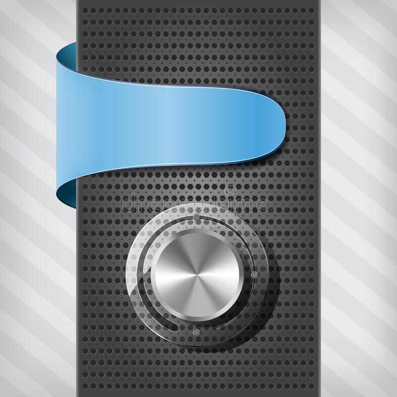 Étiquette bleue avec la molette de volume sur un fléau illustration stock