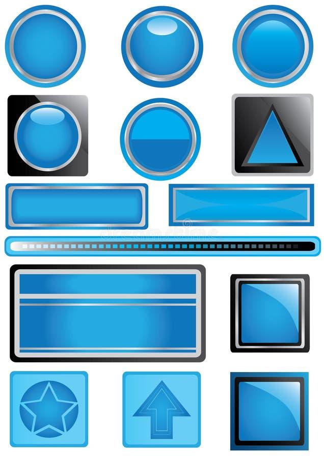 Étiquette bleue de thème illustration stock