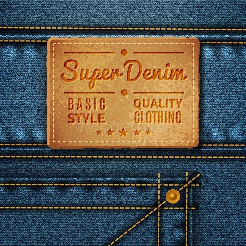 Étiquette carrée en cuir de jeans photos stock