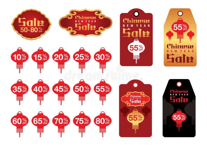Étiquette chinoise et label de vente de nouvelle année illustration libre de droits