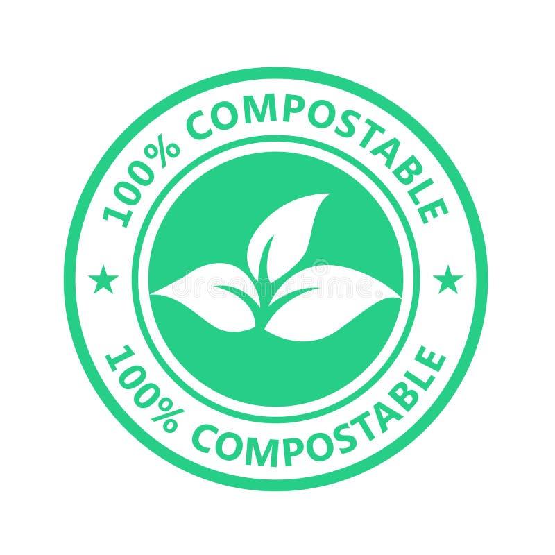 Étiquette compostable, icône en plastique libre - label écologique, emballage non toxique illustration libre de droits