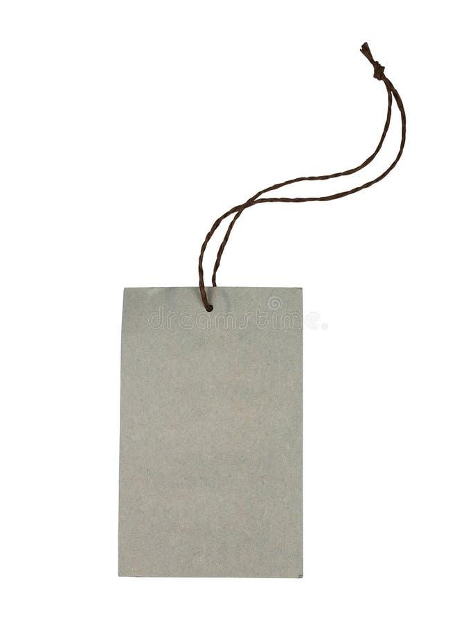 Étiquette décorative vide de cadeau de papier de carton avec le lien de ficelle photographie stock libre de droits