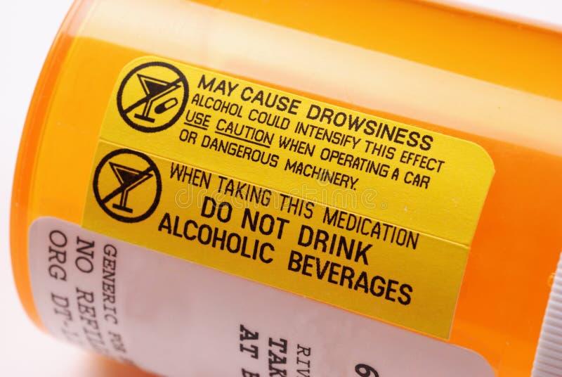 Étiquette d'avertissement - alcool image libre de droits