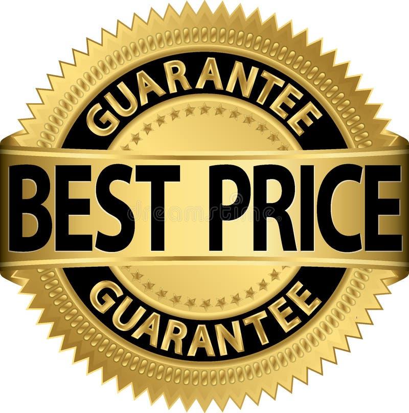 Étiquette d'or de la meilleure garantie des prix illustration stock