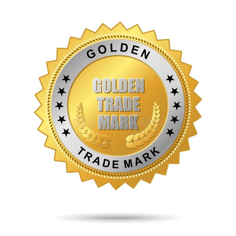 Étiquette d'or de marque déposée illustration stock