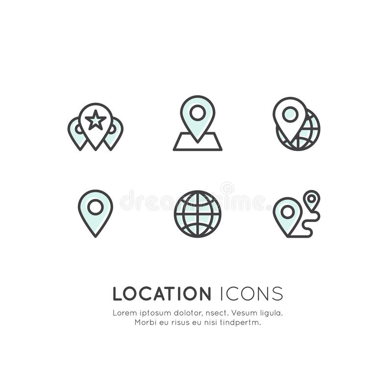 Étiquette d'emplacement de Geo, vente de proximité, connexion réseau globale, identification d'emplacement illustration stock