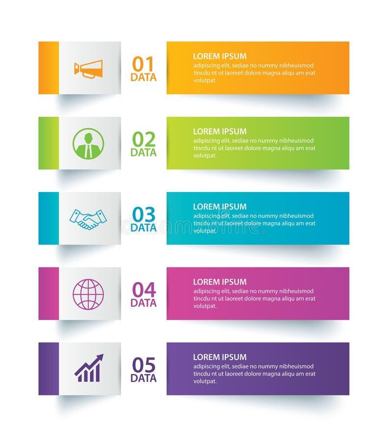 Étiquette d'Infographics dans l'index de papier horizontal avec le calibre de 5 données illustration stock