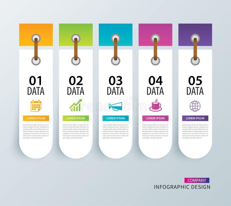 Étiquette d'Infographics dans l'index de papier vertical avec le calibre de 5 données V illustration de vecteur