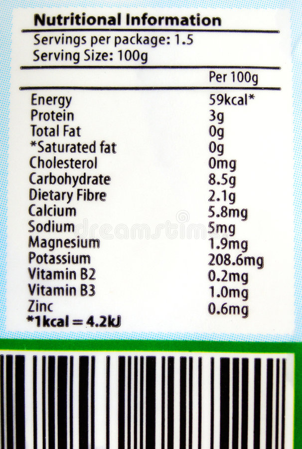 étiquette D Information Alimentaire Photos libres de droits