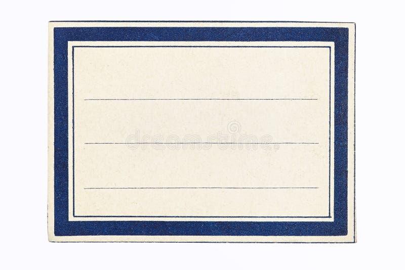 Étiquette dans une trame bleue et blanche photographie stock libre de droits
