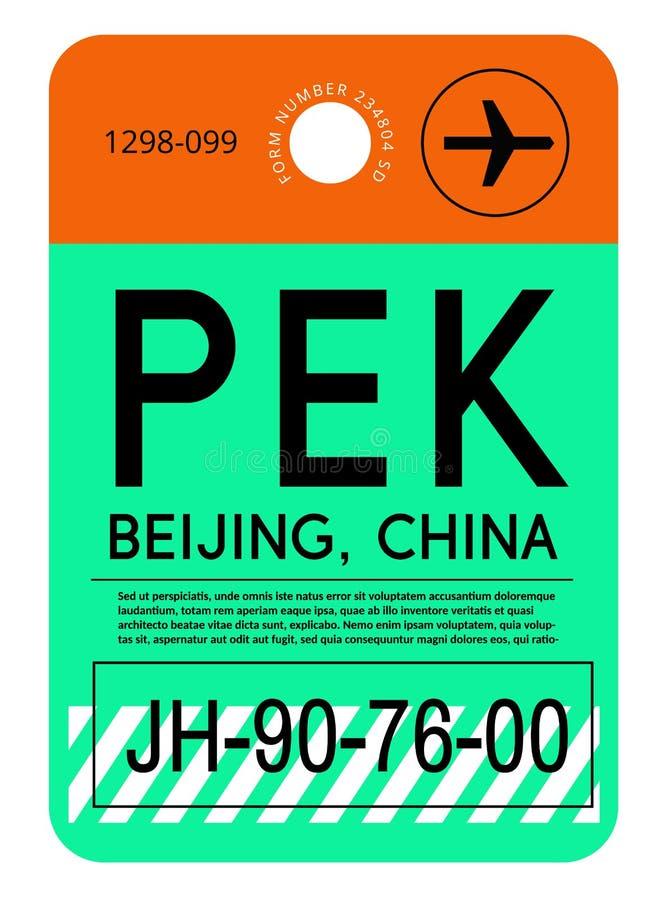 Étiquette de bagage d'aéroport de Pékin illustration libre de droits