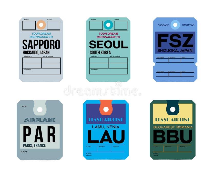 Étiquette de bagages de Bucarest Sapporo Séoul Shizuoka de lamu de Paris illustration stock