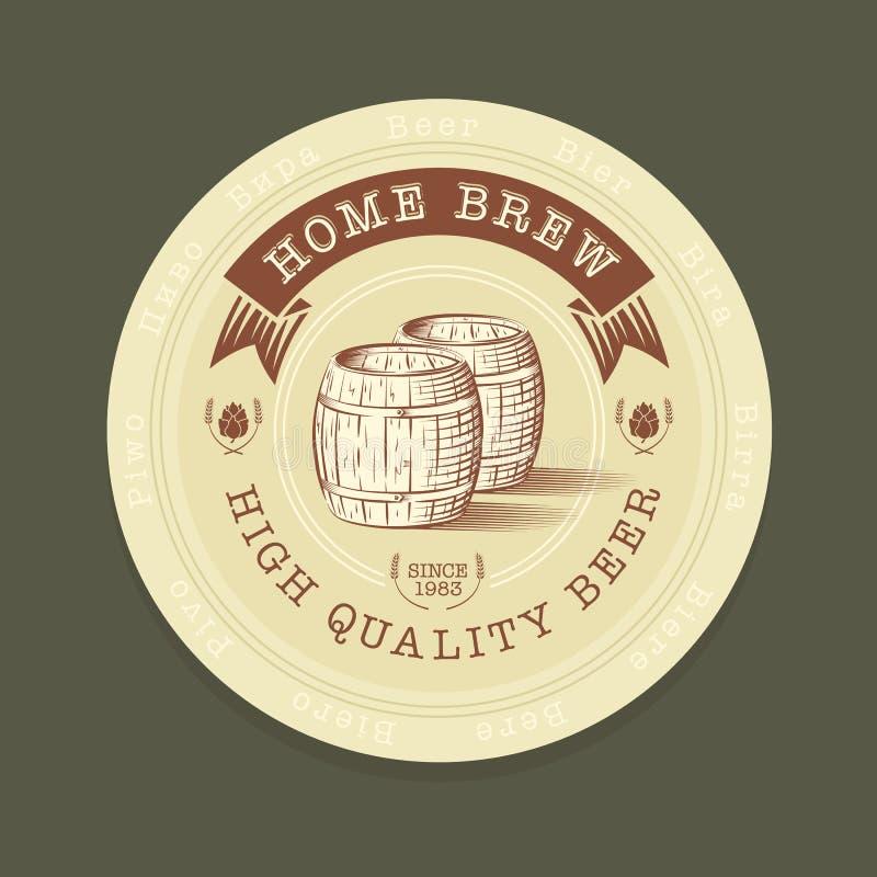 Étiquette de bière de vecteur dans le style gravé illustration libre de droits