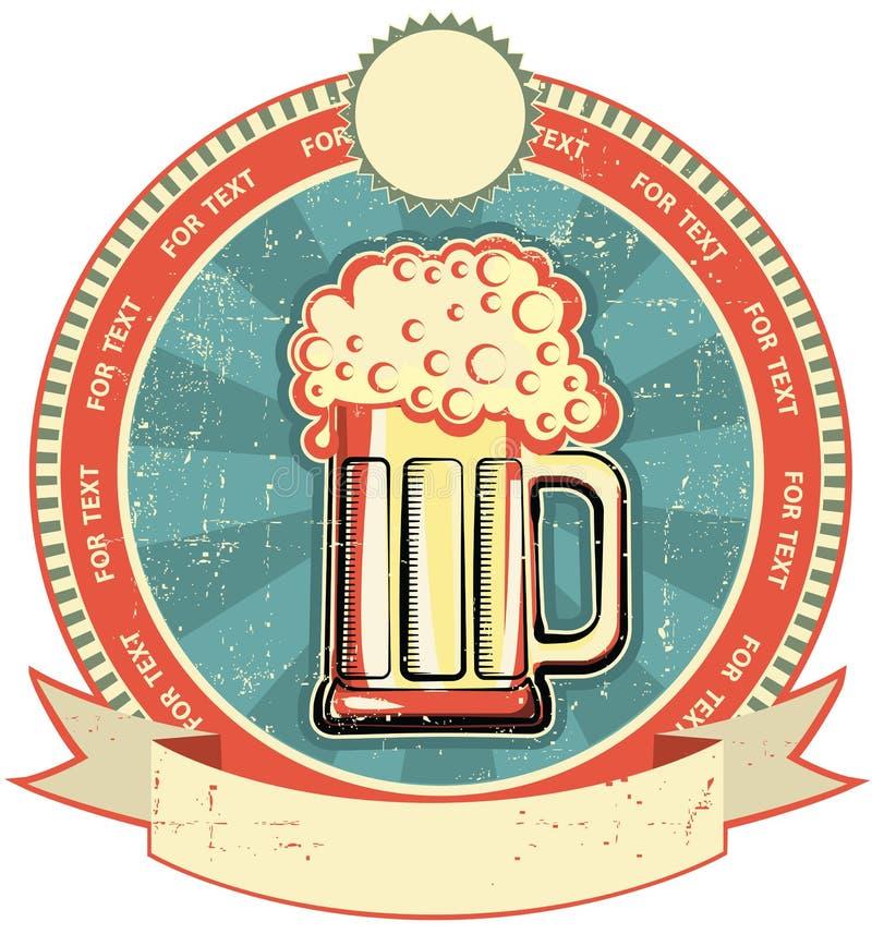 Étiquette de bière sur la vieille texture de papier illustration stock