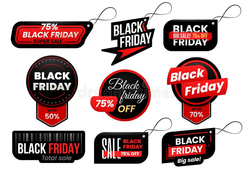 Étiquette de Black Friday Lancez les étiquettes sur le marché de vente, les ventes de achat signent le label et l'ensemble de com illustration de vecteur