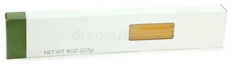Étiquette de blanc de boîte à pâtes de spaghetti photos stock