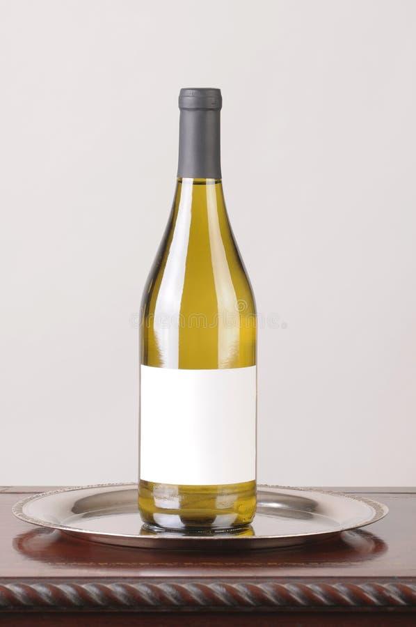 étiquette De Blanc De Bouteille De Vin Blanc Photo Stock