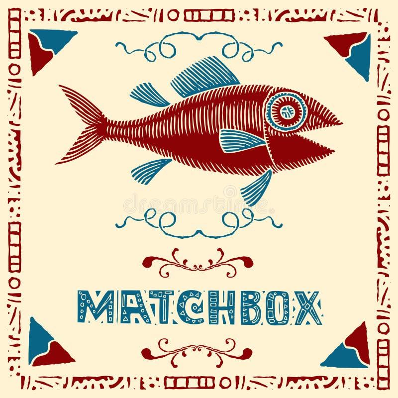 Étiquette de boîte d'allumettes de thons illustration stock