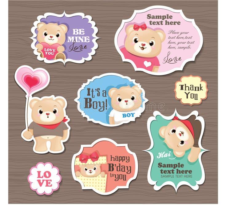 Étiquette de cadeau d'ours de nounours illustration stock
