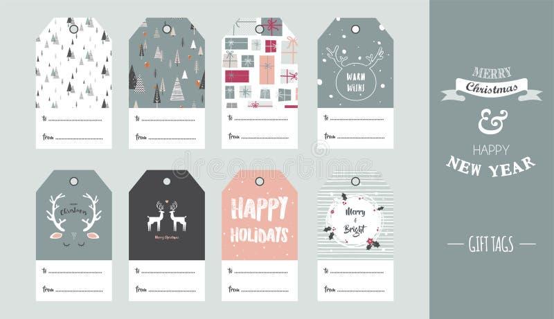 Étiquette de cadeau de Noël réglée dans le rétro style Illustration de vecteur illustration stock