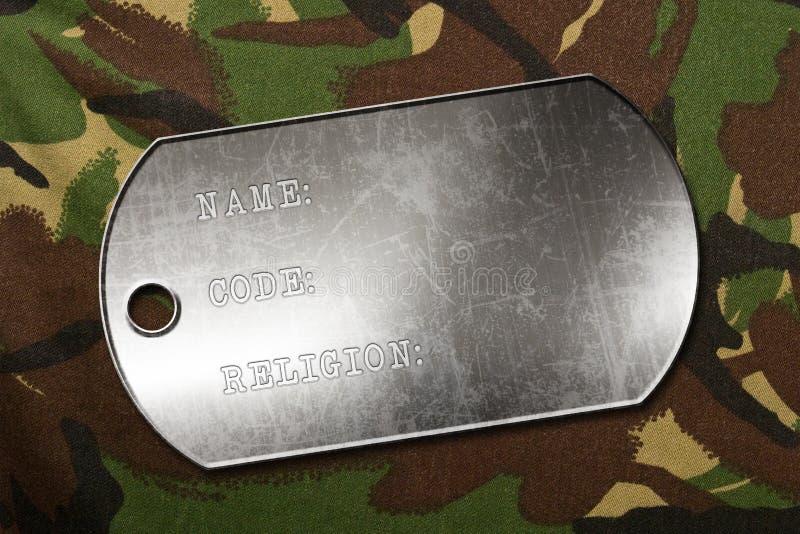 Étiquette de chien militaire illustration stock