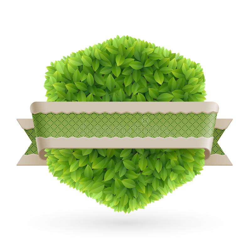 Étiquette de cru avec les lames vertes illustration de vecteur
