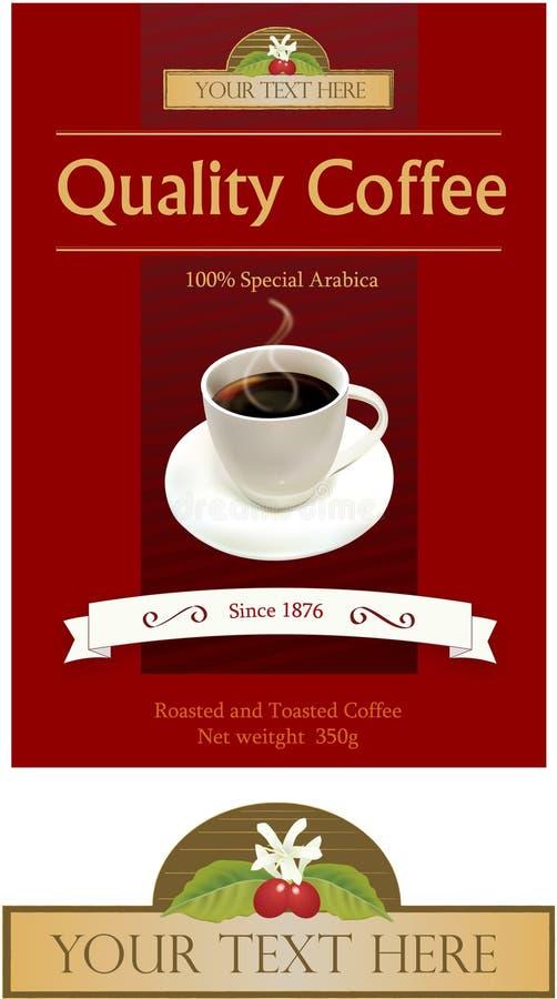 Étiquette de cuvette de café image libre de droits