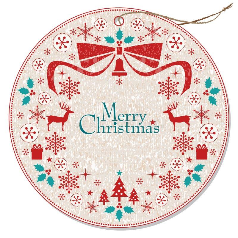 Étiquette de guirlande de Noël illustration libre de droits
