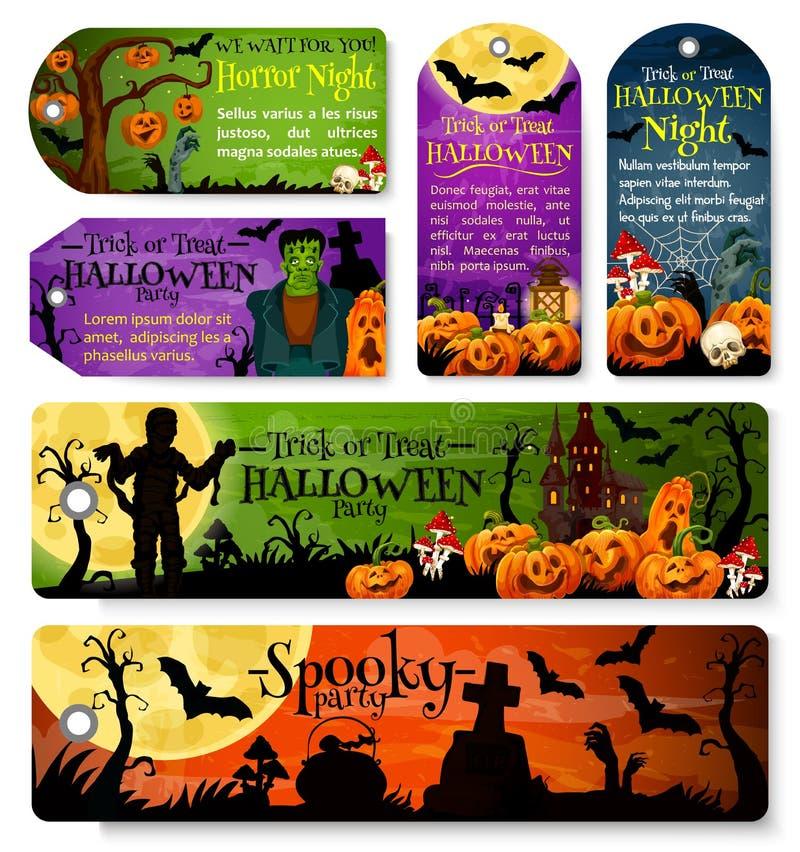 Étiquette de Halloween ou label de partie de nuit de vacances d'octobre illustration de vecteur