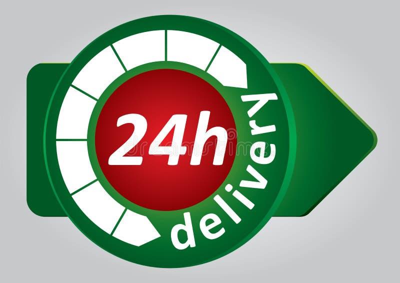 étiquette de la distribution 24h illustration libre de droits