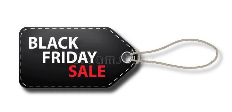 Étiquette de label avec la lanière en ventes noires de vendredi illustration libre de droits