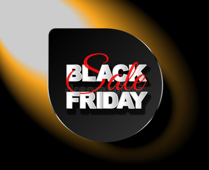 Étiquette de noir de vente de Black Friday, bannière ronde, la publicité, illustration de vecteur illustration stock