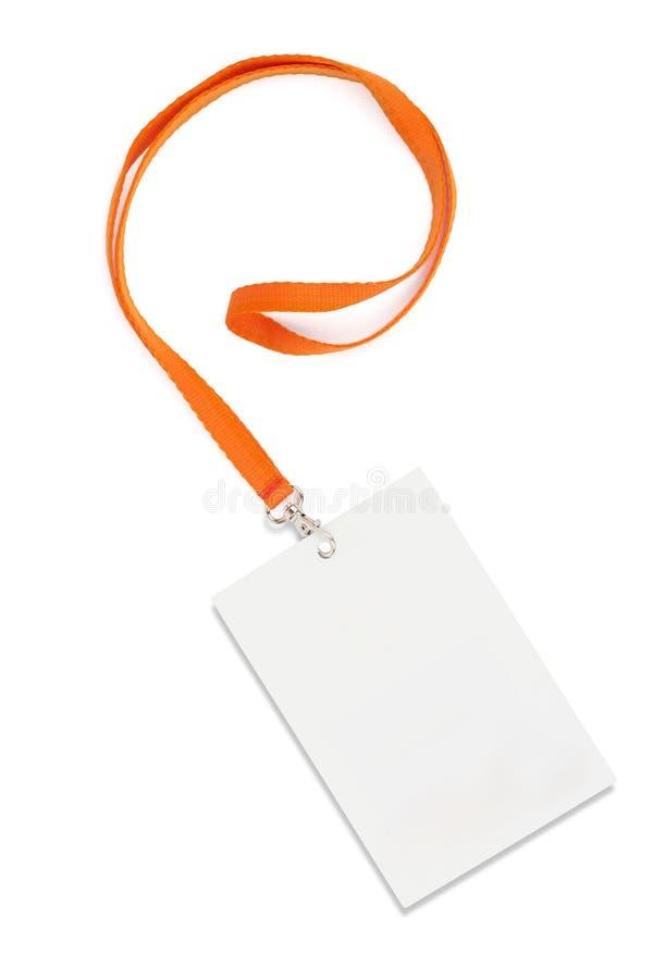 Étiquette de nom avec la lanière sur le blanc image libre de droits