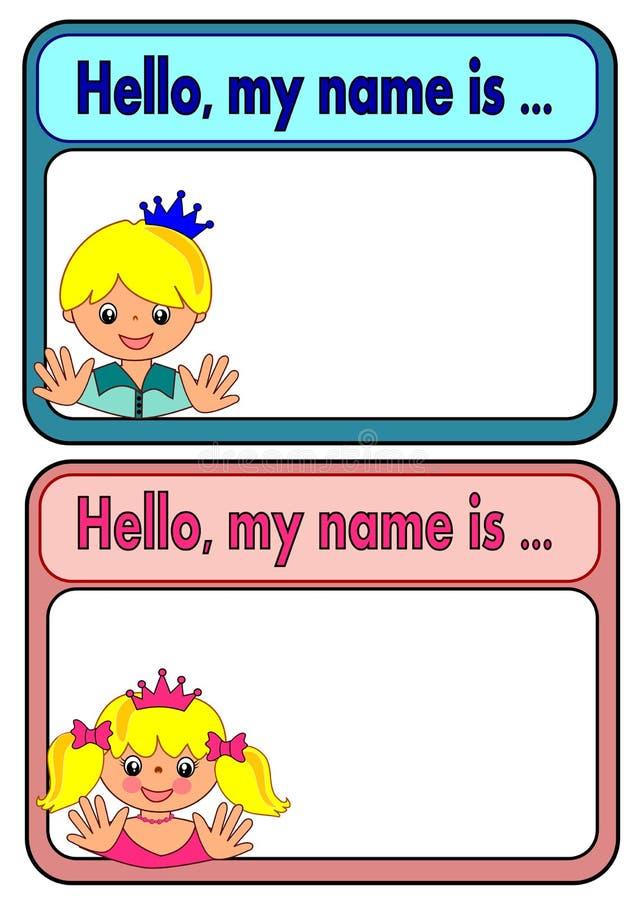 Étiquette de nom pour des enfants illustration libre de droits