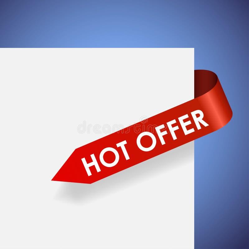 Étiquette de papier rouge d'offre chaude illustration de vecteur