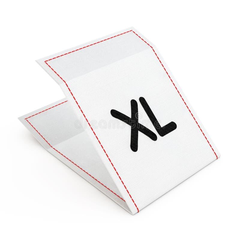 Étiquette de robe de tissu avec le signe de taille de XL rendu 3d illustration stock