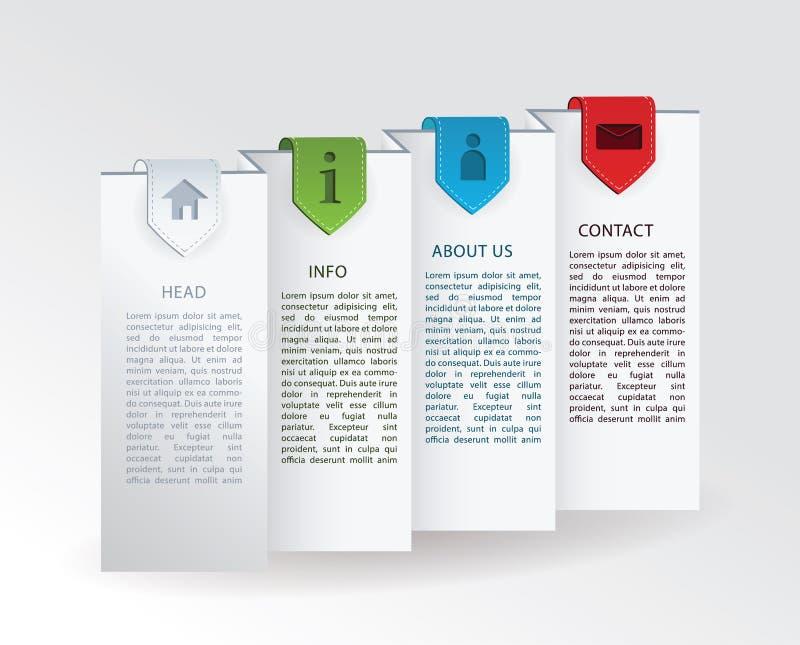 Étiquette de vecteur - papier plié avec quatre repères colorés de bande et illustration libre de droits