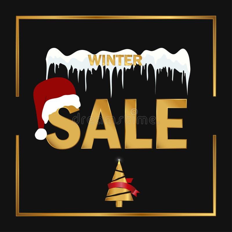 Étiquette de vente d'hiver sur un fond noir La vente d'hiver de Noël et de nouvelle année escomptent la bannière illustration stock