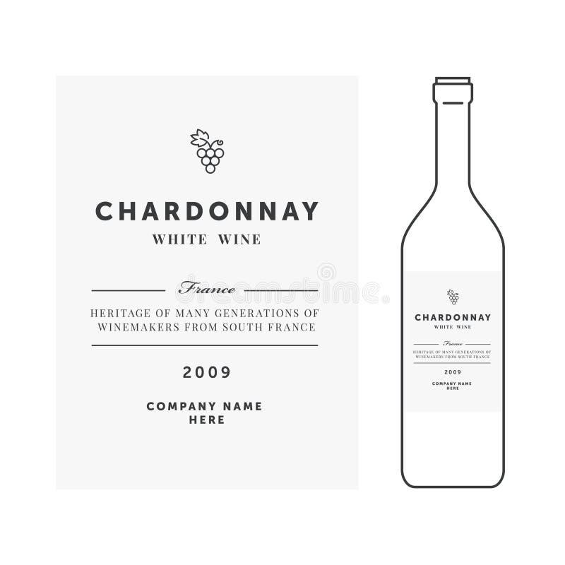 Étiquette de vin blanc Calibre de prime de vecteur Conception propre et moderne Sorte de raisin de chardonnay illustration de vecteur
